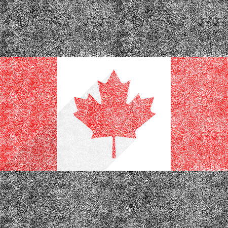 Canadian flag The Maple Leaf in flat long shadow style. To create this image used paint texture. This design graphic element is saved as a vector illustration in the EPS file format.