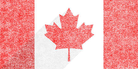 Canadian flag The Maple Leaf in flat long shadow style. To create this image used paint texture. Vettoriali