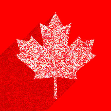 Canadian flag The Maple Leaf symbol with long shadow on square designed in flat style with used paint texture.