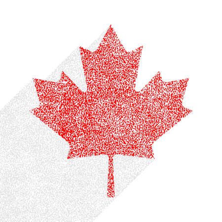 Canadian flag The Maple Leaf symbol with long shadow on square designed in flat style with used paint texture. This design graphic element is saved as a vector illustration in the EPS file format. Ilustrace