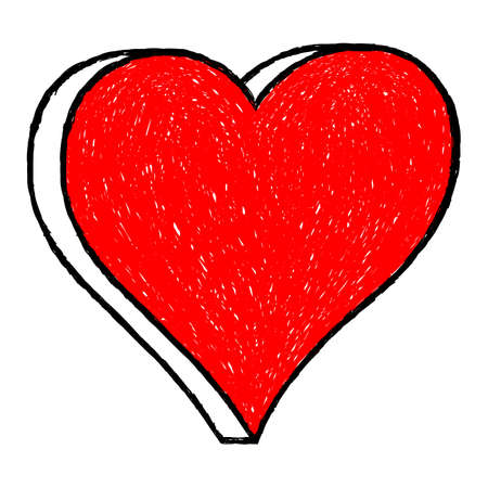 Red heart drawing is created with a ballpoint pen from the hand. The design graphic element is saved as a vector illustration in the EPS file format. Ilustrace