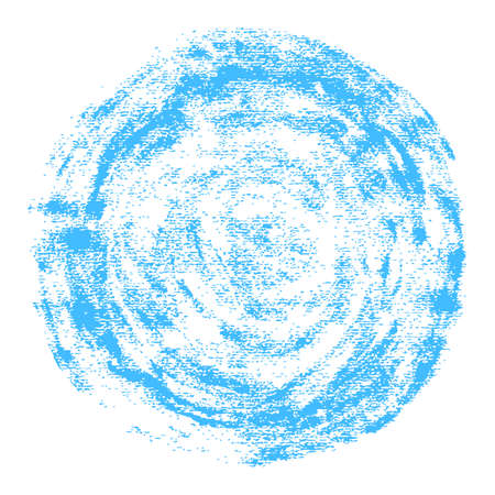 Round watercolor stain with a grunge texture. Blue abstract circular shape isolated on white background. This design graphic element is saved as a vector illustration. Ilustrace