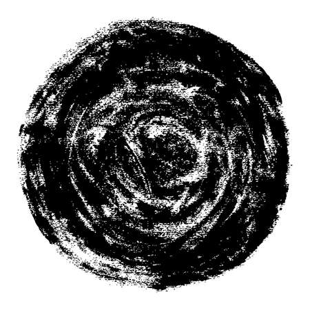 Round watercolor stain with a grunge texture. Black abstract circular shape isolated on white background. This design graphic element is saved as a vector illustration.