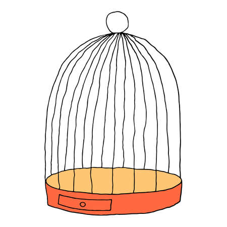 Cage for the bird isolated on white background. Sketch drawing was drawn with the brush and ink. The design graphic element is saved as a vector illustration in the EPS file format.