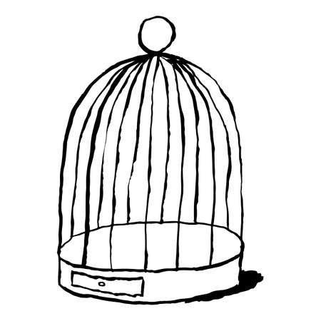Black birds cage isolated on white background. Cartoon drawing was drawn with the brush and ink. The design graphic element is saved as a vector illustration in the EPS file format. Stock Vector - 126092878