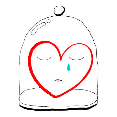 Red heart is crying under a glass bell jar. Funny greeting card for the holiday feast of Saint Valentine Day. Sketch drawing was drawn with the brush and ink and saved as a vector illustration