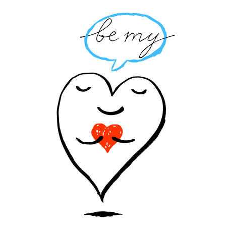 Big heart is holding a small red heart. Funny greeting card Be My Valentine for the holiday feast of Saint Valentine Day. Sketch drawing was drawn with brush and ink and saved as a vector illustration