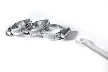 Metal band hose clamp isolated on white background close up 写真素材