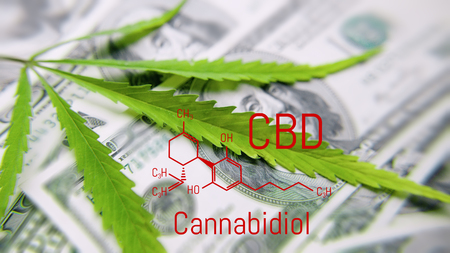 Green cannabis leaf, marijuana on the dollar bill with formula CBD. Money and hemp. Concept of the legalization of the drug business, cbd oil and products Banco de Imagens