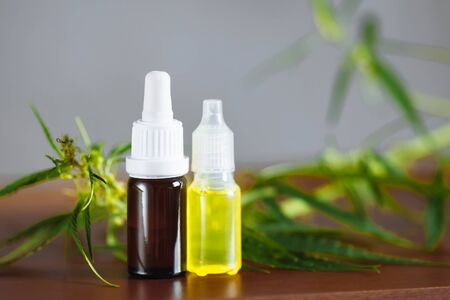 Cannabis plant herbal pharmaceutical CBD oil from jar. Wellness Hemp Cannabidiol. CBD oil bottles cannabis extract tincture liquid on wooden table. Medical marijuana concept. Place for copy space