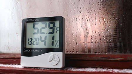 Thermometer and hygrometer of electronic to control temperature and humidity. Humidity indicator is indicated on the hygrometer of the device