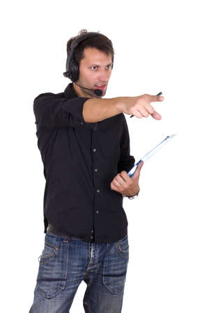 producer pointing Stock Photo