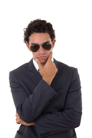 Businessman thoughts, man posing on white background Stock Photo - 22996555