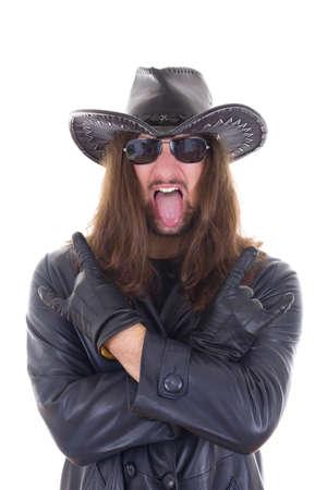 heavy metal fan in black coat