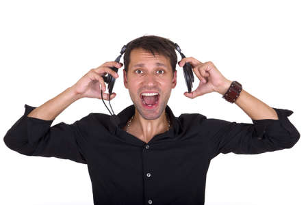 man in black shirt listening loud music on headphones photo