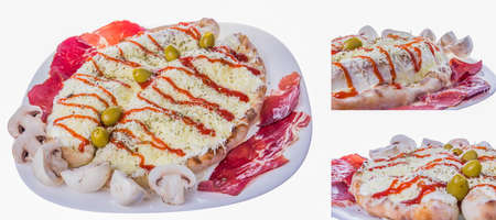 overlapped: fast food portion of pizza overlapped and covered with cheese and olives Stock Photo