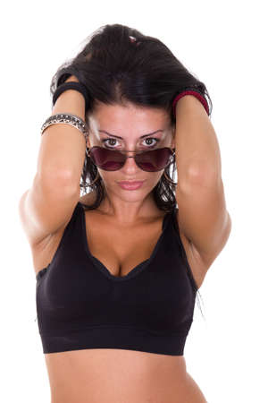 fatal woman with sunglasses possing on white background