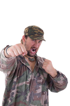 military uniform: soldier fighter in military uniform with cap Stock Photo