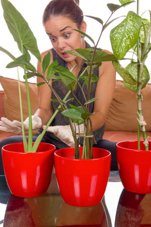obsessive: obsessive woman taking care of plant surprised by what she sees