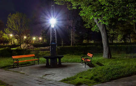 bench in a dark park next to fountain and pole photo