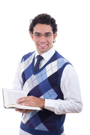 adult man in sweater holding an open book photo