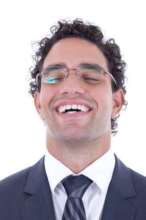 young businessman with glasses freed from stress photo