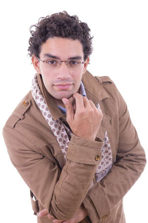 handsome smiling man with glasses in the brown coat photo