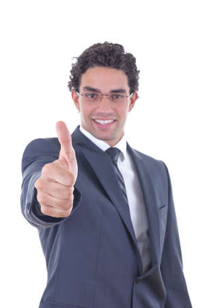 young male businessman in suit showing thumbs up photo