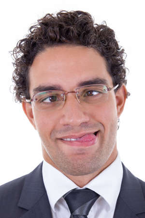 awry: crazy young businessman with glasses in suit