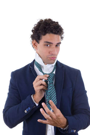 experienced man in suit tied tie photo
