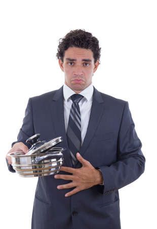 hungry adult man in business suit holding cooking pot and seeks lunch photo