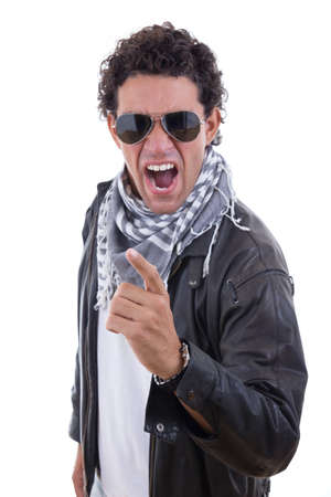 handsome man in a leather jacket with sunglasses yelling photo