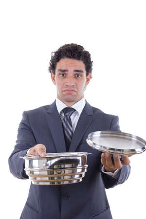 sad man in suit holding cooking pot and asking for lunch photo