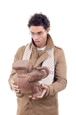 artifact: professor in coat with glasses looking old artifact