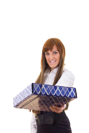 young business woman wearing skirt and shirt offering present smiling photo
