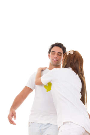 fainted: professional nurse holding sick fainting man Stock Photo