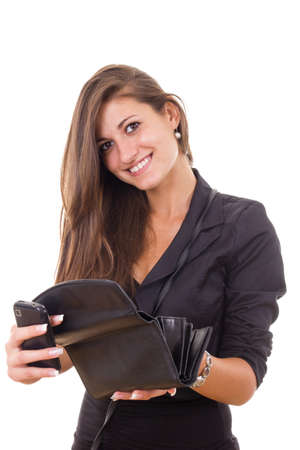irresponsible: successful irresponsible rich business girl holding wallet and mobile phone smiling