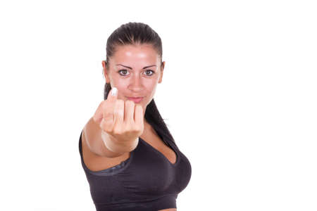 sexy young woman calling you to come here gesturing with finger photo
