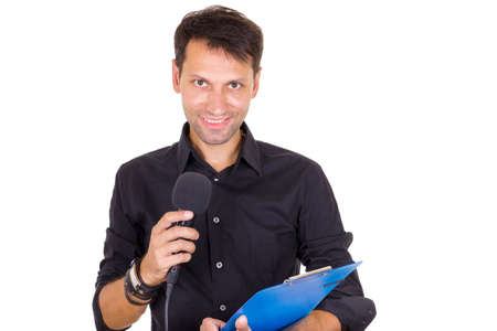 young smiling business man making statement and declaring on microphone photo
