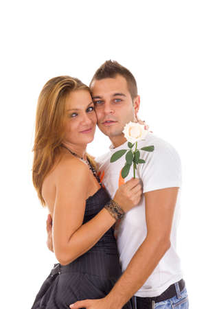 young couple in love with rose between photo