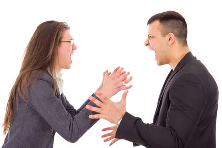 attractive angry couple fighting and shouting at each other photo
