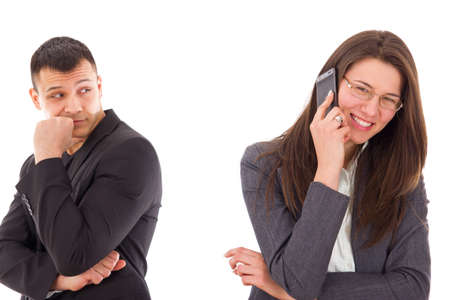 unfaithful: jealous man suspecting his woman is unfaithful and having secrets, couple with problems