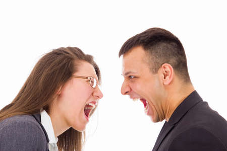 young man and woman with love problems yelling at each other