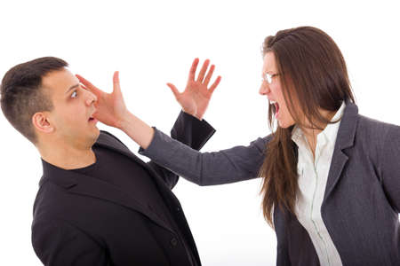 slap in the face, couple having problems in relationship with jealousy photo