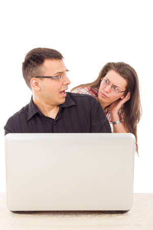 caught in the act of love scam cheating over the internet online, cyber web infidelity Stock Photo - 26864076