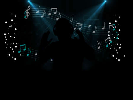 dj disco party at night with music notes and treble clef photo