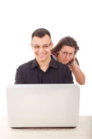 infidelity over the internet between people, cyber web infidelity Stock Photo - 26864117