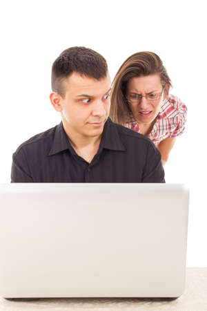 man caught in the act of love scam cheating over the internet on computer, cyber web infidelity Stock Photo - 26864120