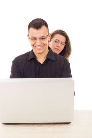 women spying on men because  infidelity while chatting over the internet Stock Photo - 26864197