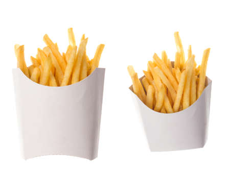 french fries in a paper wrapper on white background; two portions of french fries photo
